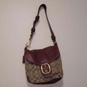 Coach Burgundy Leather and Canvas Monogram Purse